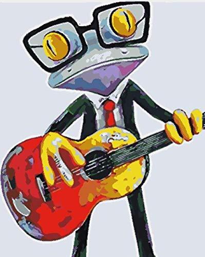 EWYTWD Malen nach Zahlen Kind Mach es selbst leinwand ölgemälde malen,Erwachsene Anfänger Acryl DREI Bürsten Farbe ölgemälde Malen nach Zahlen Malerei -Frosch spielt Gitarre 40x50cm Rahmenlos