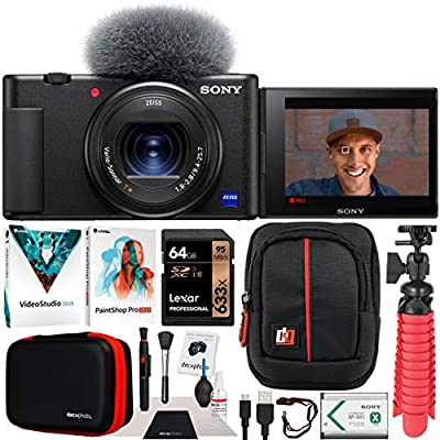 Sony ZV-1 Compact Digital Vlogging 4K HDR Video Camera for Content Creators & Vloggers DCZV1/B Bundle with Deco Gear Case + Software Kit + 64GB Card + Compact Tripod/Handheld Grip and Accessories from Sony