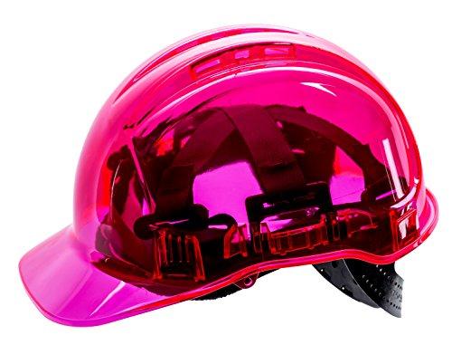 Portwest PV60PIR Peak View transparenter Schutzhelm, Pink, mit verstellbarem Verschluss, belüftet, Kopfumfang 50–66 cm