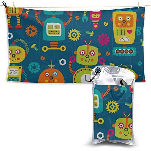LIANPEN Robot Fantasy Scient Style Baby Boy Beach Towel Travel Sports Towel Pool Towels Microfiber Microfiber Towel for Kids 27.5'' X 51''(70 X 130cm) Best for Gym Travel Camp Yoga Fitnes