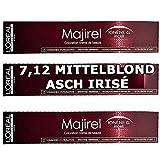 3x L'Oréal Majirel 7,12Blond Moyen Cendré Irisé Crème Couleur des cheveux–50ml