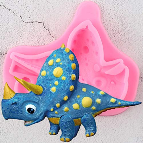 ZPZZPY Moules en Silicone Triceratops 3D Birthday Cake Decorating Tools Cake Baking Fondant Mold Candy Clay Chocolate Gumpaste Moulds