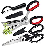 Kitchen Shears Herb Scissors Vegetable Peeler Set, Heavy Duty Kitchen Scissors for Meat Poultry Fish, Herb Cutter Shears with 5 Blades, 2 in 1 Vegetable Peeler, Pack of 3 Multipurpose Kitchen Gadgets