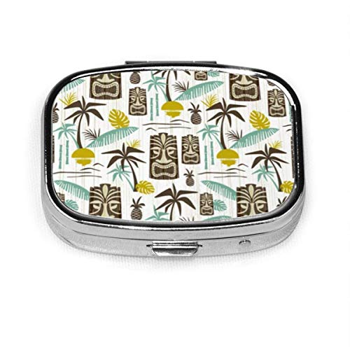 Island Tiki - White Personalized Square Pill Box Box Vitamin Container