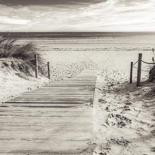 Forwall Fototapete Vlies Tapete 3D Effekt Wandtapete Strand Meer Wandbilder Moderne Dekoration - Weg Schwarz Weiß Wasser Sand Landschaft Natur Wandbild 2024V8 368cm x 254cm Schlafzimmer Wohnzimmer V8