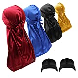 4PCS Silky Durags Skull Caps for Men Waves Women, Do Rags Headwraps with 2 Wave Caps (Stocking Caps) (Set-3)