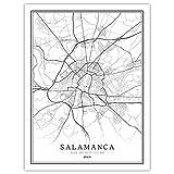 Póster de mapa de la ciudad del mundo de España en blanco y negro, impresiones en lienzo y pósteres, para decoración del hogar, sin marco (Salamanca, 30 x 40 cm)