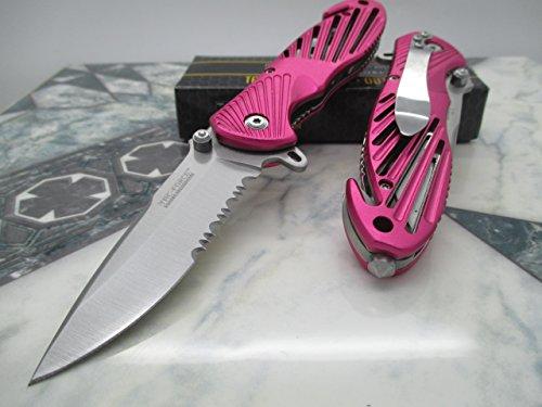 Tac-force Assisted Opening Speedster Pink High Carbon Rescue Glass Breaker Pocket Knife