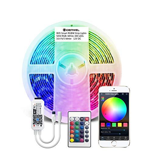 GIDERWEL 5m Smart LED Streifen RGBW Kit with Wireless WiFi LED Controller Kompatibel mit Alexa/Google Assistant, APP/Voice/Musik Control RGB+Kaltweiß Lichtstreifen Alexa LED Strips(nur 2,4G Netzwerk)