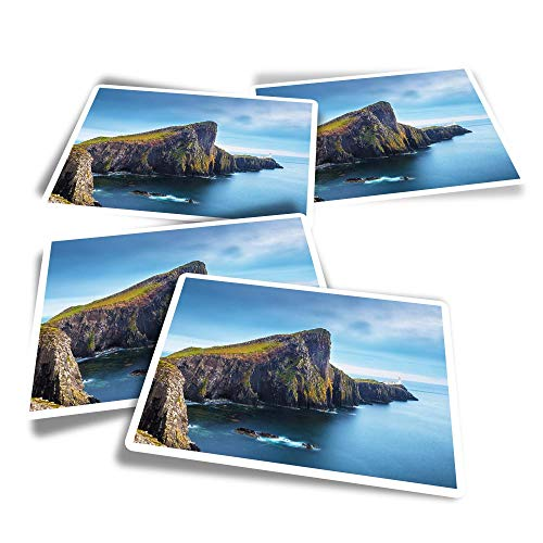 Vinyl Rectangle Stickers (Set of 4) - Neist Point Isle of Skye Scotland Fun Decals for Laptops,Tablets,Luggage,Scrap Booking,Fridges #16384