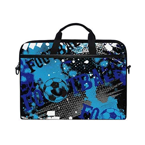Laptop Sleeve Case,Laptop Bag,Sport Soccer Football Pattern Water Briefcase Messenger Notebook Computer Bag with Shoulder Strap Handle,29×40 CM/15.6 Inch