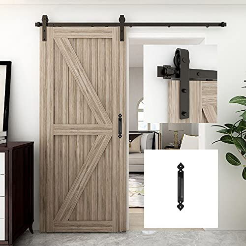 Binario per Porta Scorrevole Kit, WOLFBIRD 183cm/6ft Accessori per Porta Scorrevole con maniglia porta, per Porte Scorrevoli Singole Larga 90cm, Nero