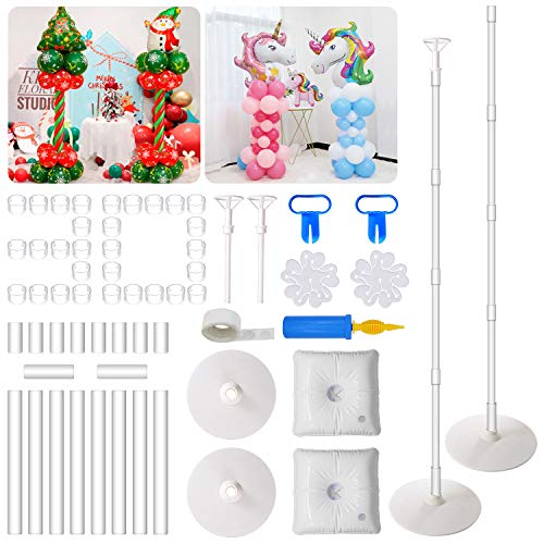 Balloon Column Kit,66 inch Height Balloon Stand Garland Decoration Set with Base,30Pcs Balloon Clips,Glue Point Stickers Manual Pump Balloon Knotter -For Birthday Family Parties Wedding DIY Event Supplies Decoration