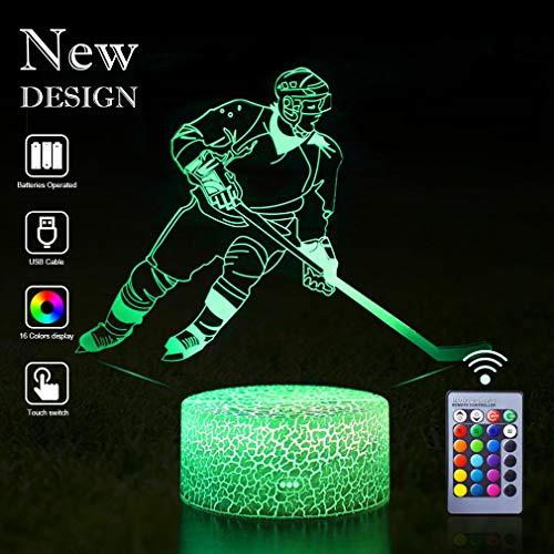 Eishockey Nachtlicht, Nachttischlampe 16 Farben ändern Fernbedienung Illusionslampe für Kinder Lampe als Geschenkidee für Sportfans Jungen oder Kinder Weihnachten Geburtstagsfeier (Ice Hockey)