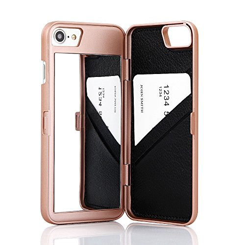 W7ETBEN iPhone SE2 Case, iPhone 7/8 Case,Hidden Back Mirror Wallet Case with Stand Feature and Card Holder for Apple iPhone 7 / iPhone 8 / iPhone SE2, 4.7' (Rose Gold)
