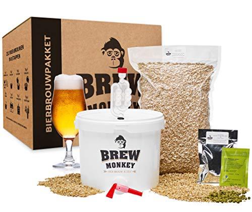 Brew Monkey® Basis Blond bierbrouwpakket | bierbrouwset startpakket om zelf bier te brouwen in je eigen keuken | met verse ingrediënten | herbruikbare vergistingsemmer | origineel cadeau!