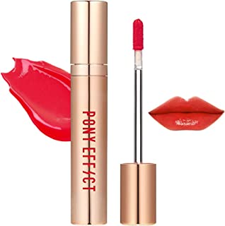 PONY EFFECT Favorite Fluid Lip Color Gloss #Go Pitapat 4.6g, 0.16 Ounces, Silky Texture, Moisture Liquid Lip Gloss, Glossy Natural Rose Color, High Glossy, Cherry Pinkish Red