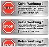 """6x Aufkleber Sticker"""" keine Werbung"""" - Nie wieder Werbung dank § BGH Beschluss"""