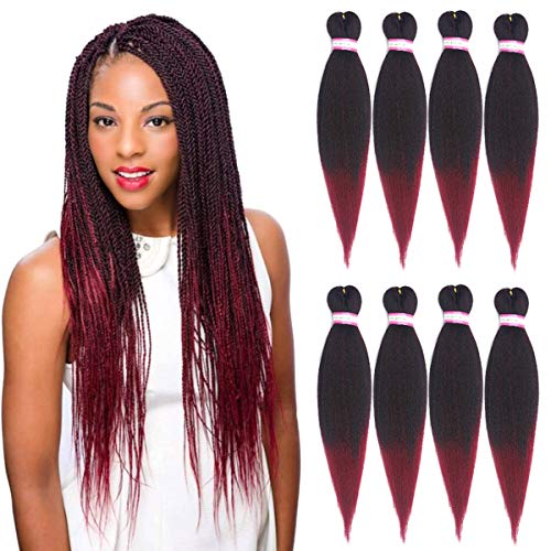 8 Packs Pre-stretched Crochet Braiding Hair Hot Water Setting Box Braids Crochet Hair Synthetic Twist Corchet Braids YAKI Texture Braiding Hair Extensions (20 Inch,1B/BUG#)