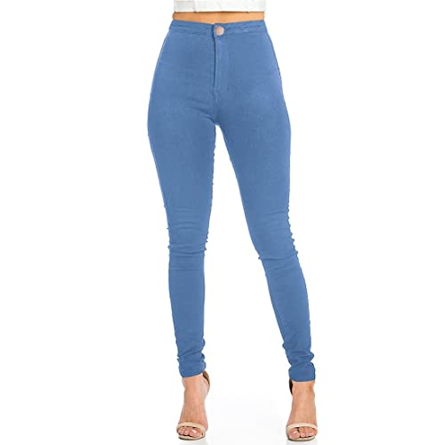 Ladies High Waisted Skinny Jeans womens jeans light blue Stretch Denim Jeggings