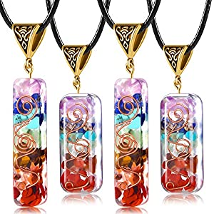 Yaomiao Orgone 7 Chakra Stones Necklace Gemstone Energy Healing Crystal Pendant Generator Emotional Body Purification Pendant with Adjustable Cord for EMF Protection and Spiritual Healing