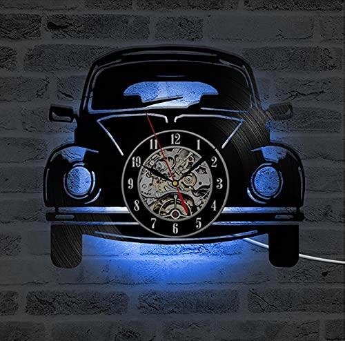 Reloj de Reloj de Reloj de Vinilo Reloj de Pared LED de Reloj de Pared 3D Reloj de Pared Decorativo con 7 Colores LED Iluminación Reloj de Pared Mute Decoración del hogar-LED
