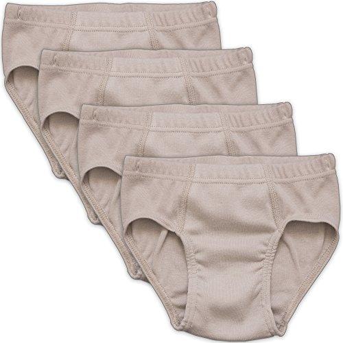 HERMKO 2850 4er Pack Jungen Slip einfarbig aus 100% Bio-Baumwolle mit Dehnbund, Farbe:grau, Größe:116