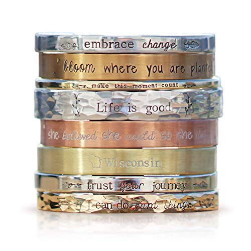 """Personalized Cuff Bracelet 5""""-8"""" long in Sterling Silver, Aluminum, Bronze, Nickel, Gold, or Copper, 5-8"""" Long"""