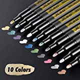 Metallic Marker Pens, XSG Set of 10 Colors Paint Markers for black paper,Rock Painting, Card Making,DIY Photo Album, Scrapbook Crafts, Metal, Wood, Ceramic, Glass (Medium tip)