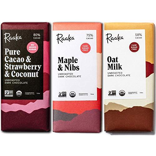 Raaka Chocolate Refined Sugar-Free Pack | Gourmet Bean-to-Bar Dark Chocolate | Organic, Kosher, Vegan, Gluten-Free | Chocolate Lover's Gift | 1.8oz Bars, 3-Pack