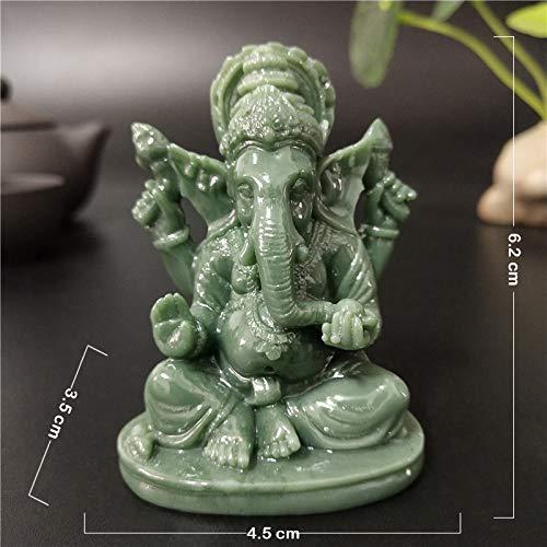QWERTOUY Ganesha Buddha Statue Haus Garten Dekoration Indischer Elefant Gott Skulptur Künstliche Jade Stein Handwerk Wohnkultur Buddha Statuen,A
