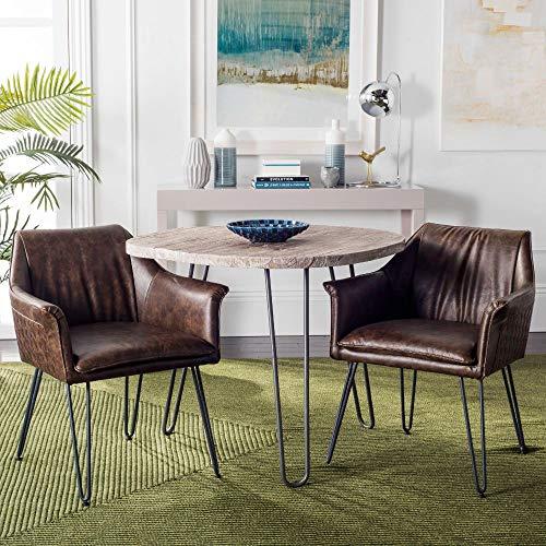 Safavieh Home Esme Mid-Century Modern Dark Brown Faux Leather Dining Chair, Set of 2