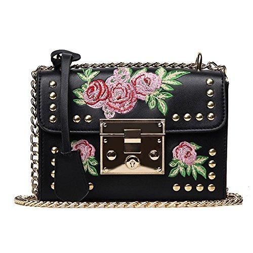 Bolsos para Mujeres,KanLin1986 mujer cuero Bolso de hombro Bolsas de mensajero de mujer Bordado rosa Crossbody Bolso de mano pequeño barato para niñas Señoras (Negro)