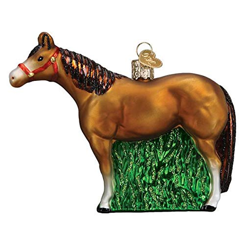 Old-World Christmas Glass Blown Ornament with S-Hook and Gift Box, Animal Selection (Quarter Horse, 12571)