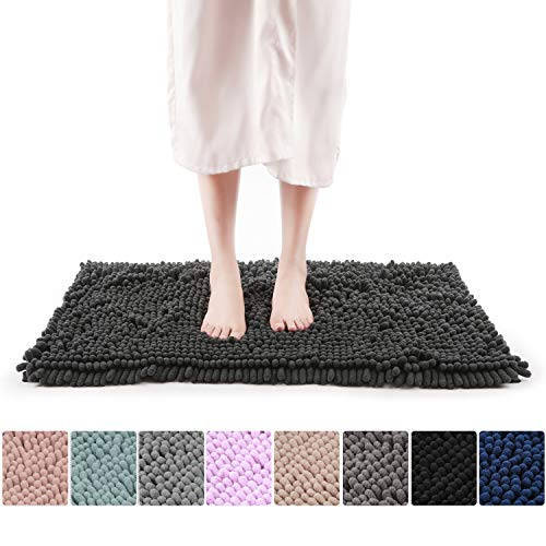FRESHMINT Chenille Bath Rugs Extra Soft Fluffy and Absorbent Microfiber Shag Rug, Non-Slip Runner Carpet for Tub Bathroom Shower Mat, Machine-Washable Durable Thick Area Rugs (16.5' x 24', Black)