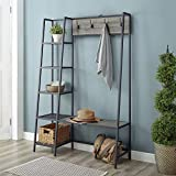 Walker Edison 5 Shelf-Entryway Bench Hall Tree Storage Coat Rack, 72 Inch, Slate Grey, Model:AZT72ASSSG