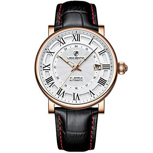 Orologio automatico da uomo LACZ DENTON orologio da polso meccanico analogico impermeabile orologi casual da uomo (1308A oro bianco)