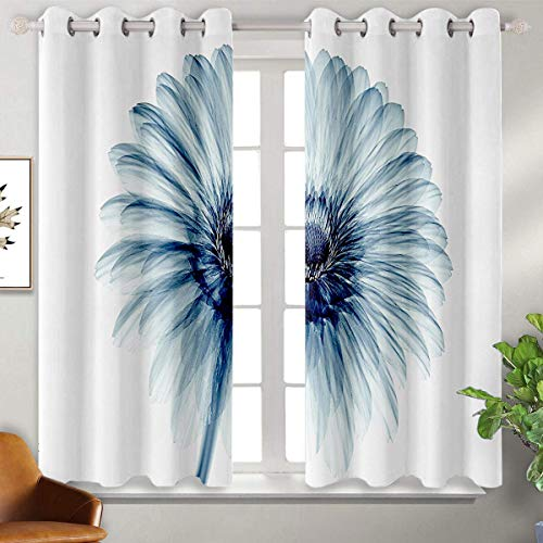 Xray Flower Decor eclipseblackoutcurtains Photo Of A Daisy Flower With X Rays Different Look To The Plants in Nature Art Print Thermal Insulated Blackout Patio Door Curtain Panel W55'x L45' Teal Wh