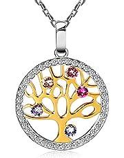 Collana Donna Albero Della Vita con Cristalli di Swarovski Gioielli in Argento 925, Idee Regalo per Mamma Lei Donna Compleanno