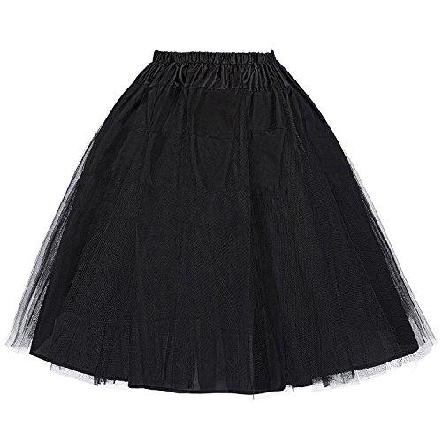 Belle Poque Petticoat Damen Vintage 50er Jahre Unterrock Kurz Tüll Reifrock für brautkleid Rockabilly Kleid Größe XL BP56-1