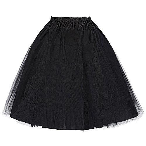 Gonna da Donna in Tulle, Stile Vintage Nero X-Large