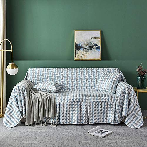 ZJXSNEH Houndstooth Skirt Sofa Towel Sofa Cover Sofa Cover Non Slip Simple Four Season Household Blue 78.7X141.7Inches