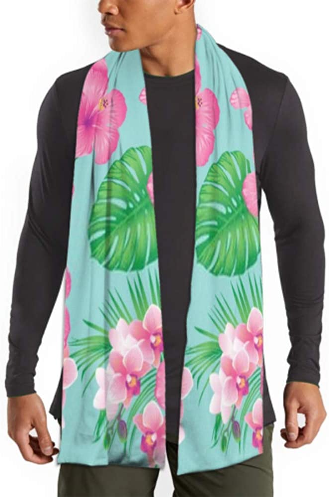 Men's And Women Winter Fashion Scarf Seamless Floral Fashion Pattern Beautiful Hibiscus Long Plain Warm Soft Scarves For Men - Cotton Scarves For Wi