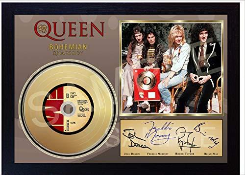 SGH SERVICES Nuevo Guitarras en Miniatura y Mini LP LED Zeppelin en una Caja de Sombra firmada tama/ño A4 firmada autografiada Miniatura Guitarra y Mini vinilos Grabados LP Enmarcado