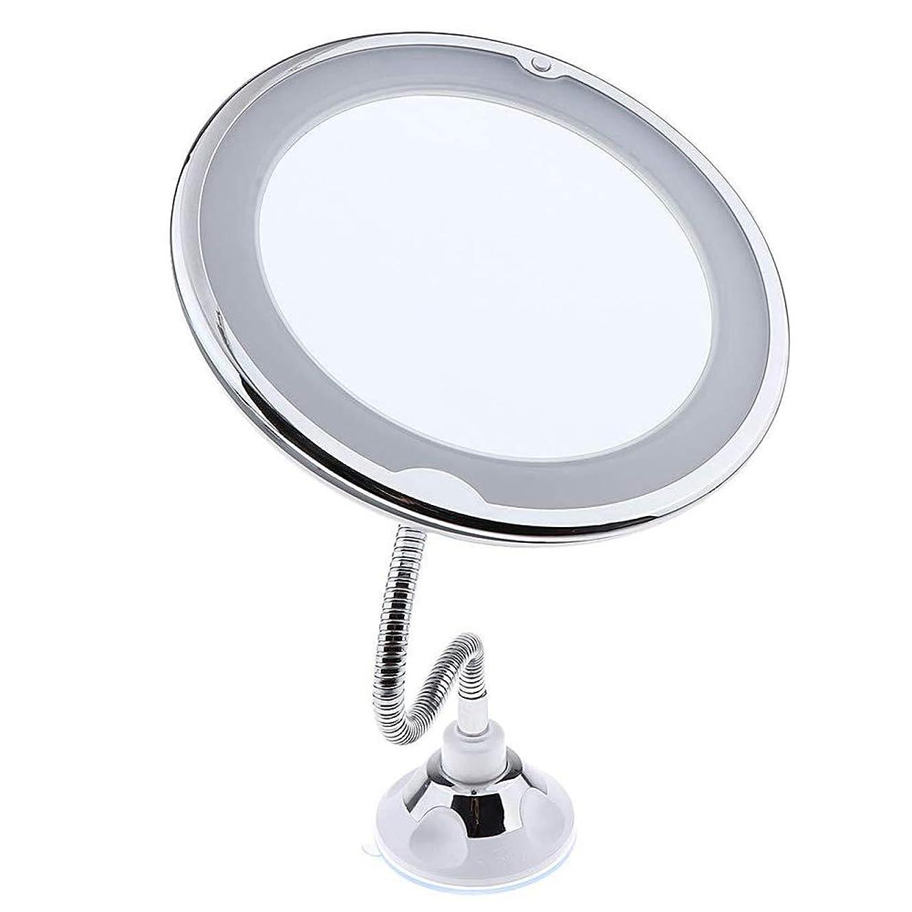 普遍的なアンデス山脈販売計画柔軟なグースネック10倍拡大鏡led照明付き化粧鏡、サクションカップ付き浴室倍率化粧鏡、360度回転