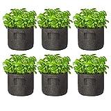 Ledph Sacchetti per Coltivazione di Patate 6 Pezzi, 2/3/5/7/10 Galloni Sacchi per Piante Vasi in Tessuto, Non Tessuto Traspirante Grow Bag con Manici per Carote, Pomodori, Cipolle, Ortaggi,5 Gallon