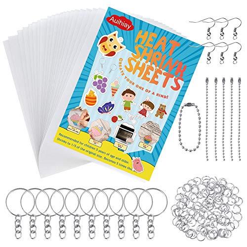 Auihiay 145 Stücke Schrumpffolie Schrumpffolienplatten, inklusiv 20 Stücke Schrumpfende Plastikfolie, 125 Schlüsselanhänger, für DIY Handwerk für Kinder