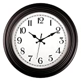 Foxtop 14 Inch Large Silent Non-Ticking Quality Quartz Battery Operated Round Easy to Read Wall Clock for Living Room Home Office Classroom School