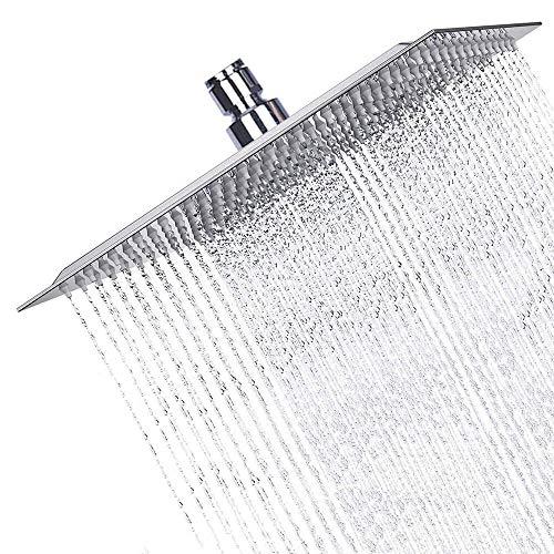 High Pressure Shower Head, Sinzau 8 Inch Square Rain Showerhead, 304 Stainless Steel, Ultra-Thin Design, Best Pressure Boosting