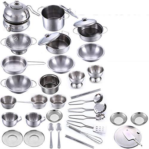 18 piezas de acero inoxidable niños juguetes de la cocina en miniatura Cooking Set Simulación Vajilla juguete Juego de imaginación de Cook niños de juguete